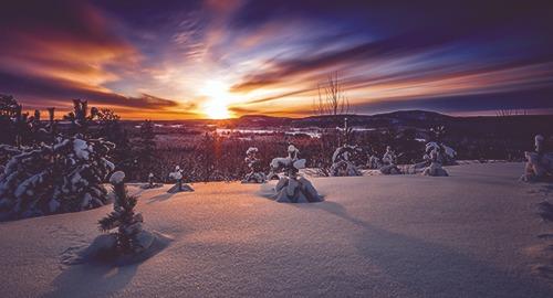 Solnedgång i vinterlandskap.