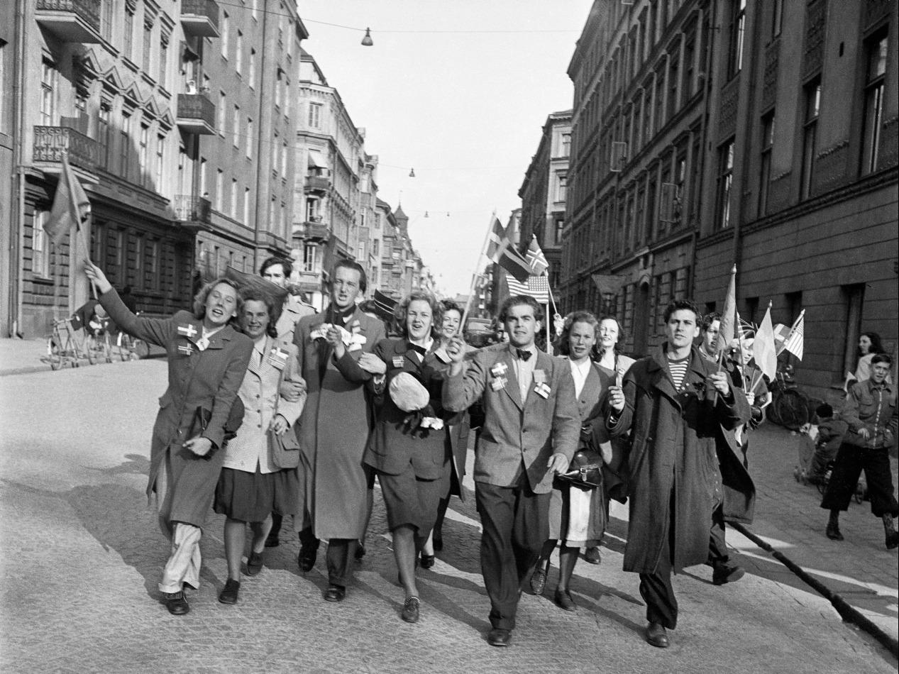 Fredsdagen den 7 maj 1945 Foto Aftonbladet, fotograf okänd