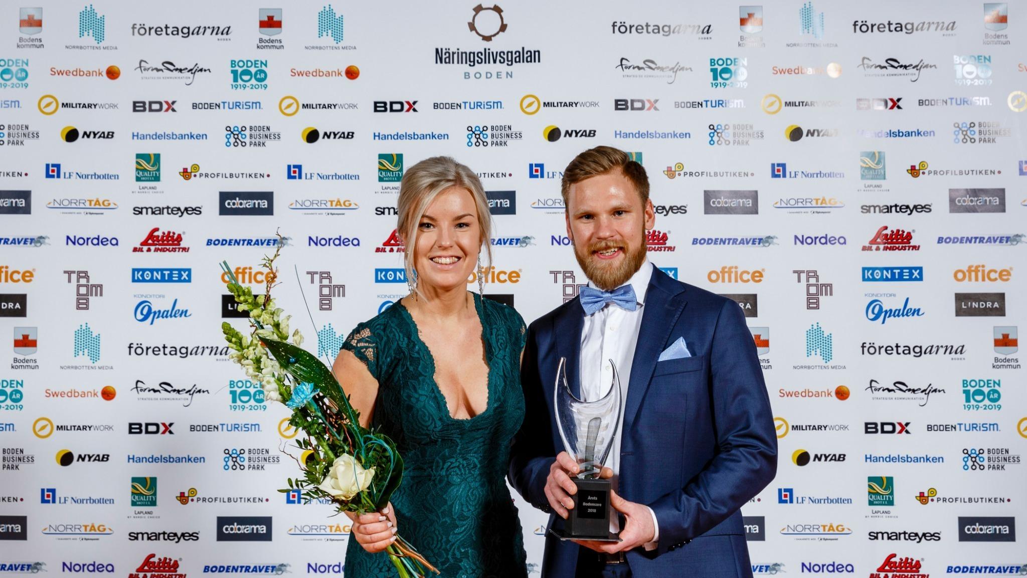 Bild på Emma och Sebastian Gröndal på Näringslivsgalan.