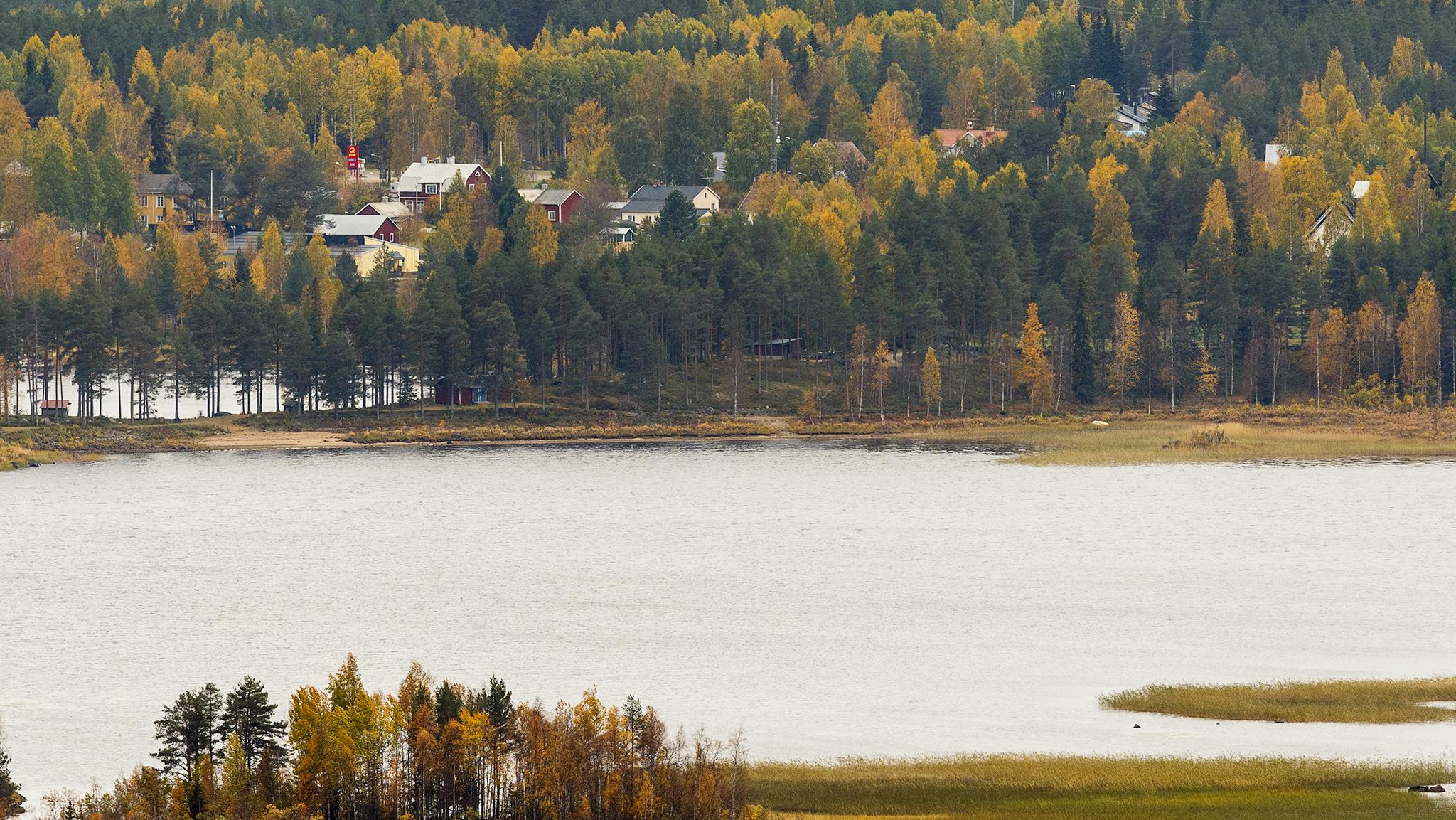 Vatten, skog och några hus i Gunnarsbyn