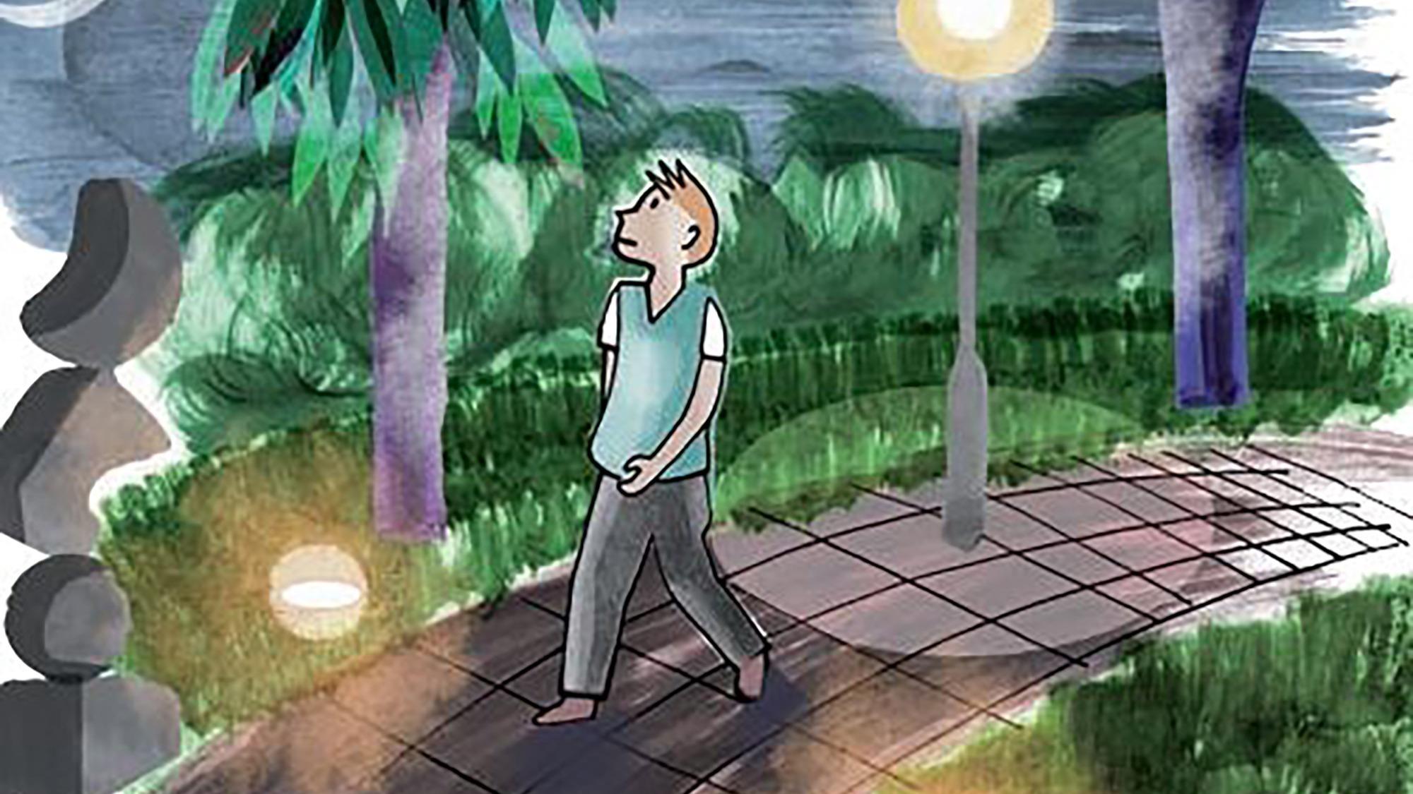 Illustration av en person som går på gångväg. Det är mörkt ute och en gatlampa lyser upp där personen nyss har passerat.