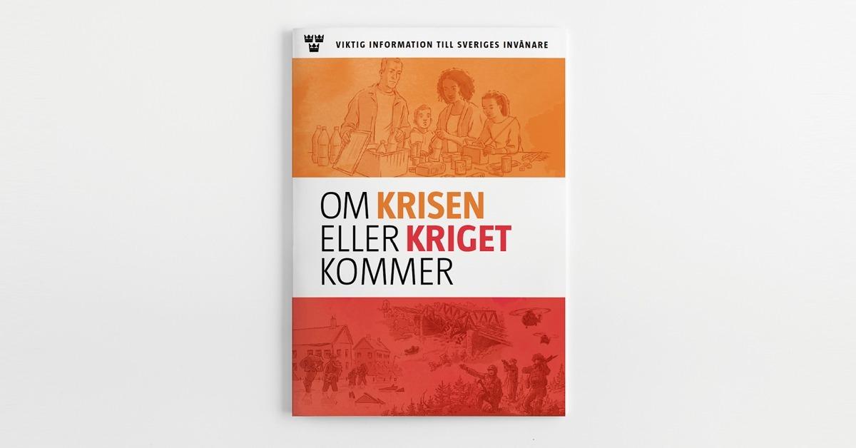 """Foto på broschyren """"Om krisen eller kriget kommer""""."""