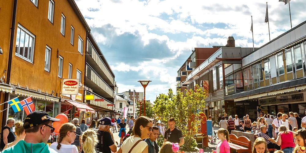 Bild från gågatan i centrala Boden.