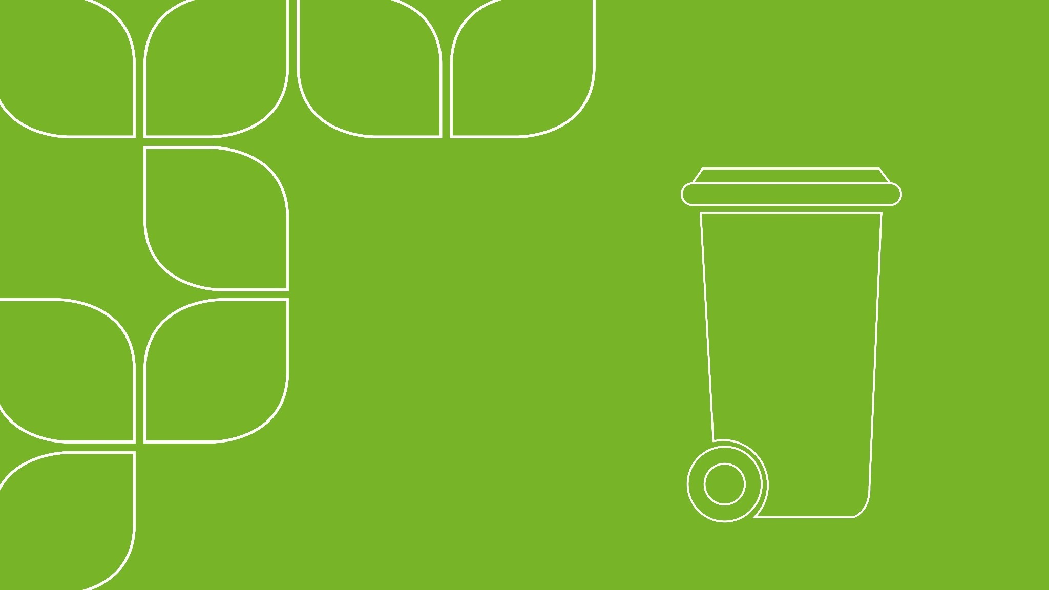 Illustration av avfallskärl mot grön bakgrund.