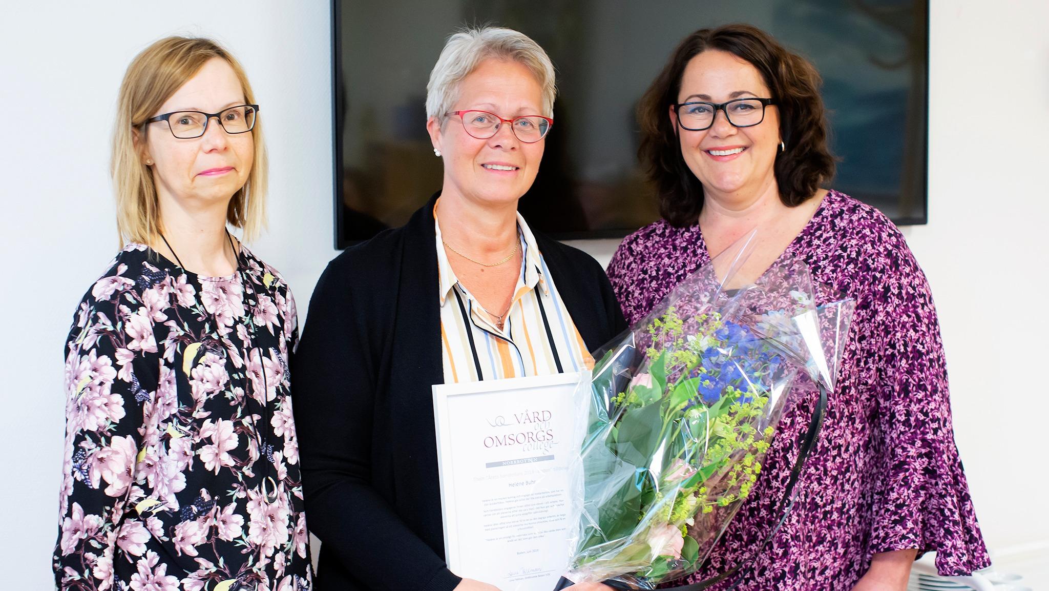 Lena Fällman, Heléne Buhr och Kristina Lindqvist vid utdelningen av utmärkelsen Årets handledare 2019 i Boden.