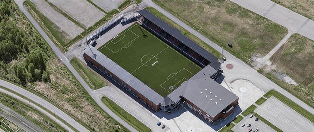 Flygfoto över Boden Arena
