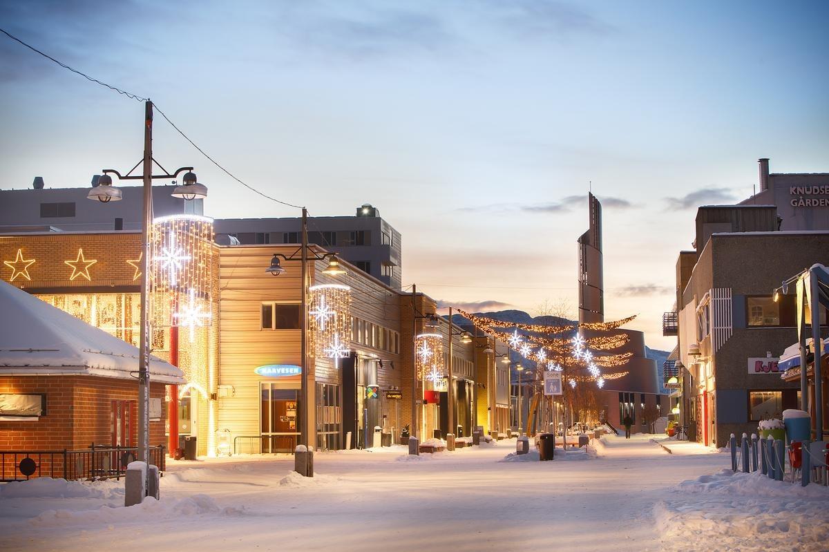 Stadsmiljö vintertid.