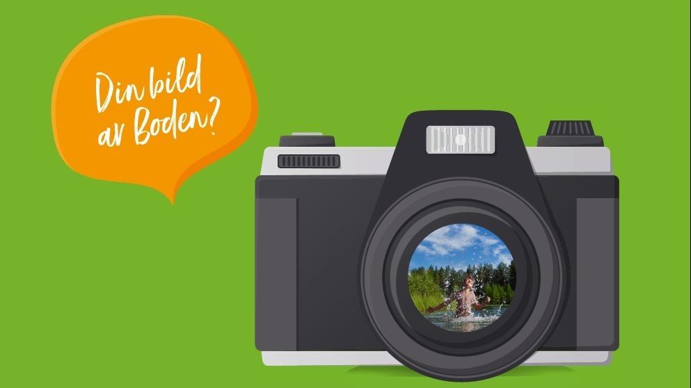 """Illustrerad kamera mot grön bakgrund med pratbubbla som säger """"Din bild av Boden""""."""