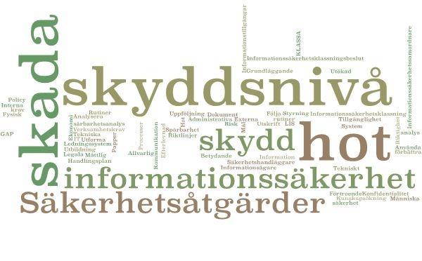 ordmoln som handlar om informationssäkerhet.