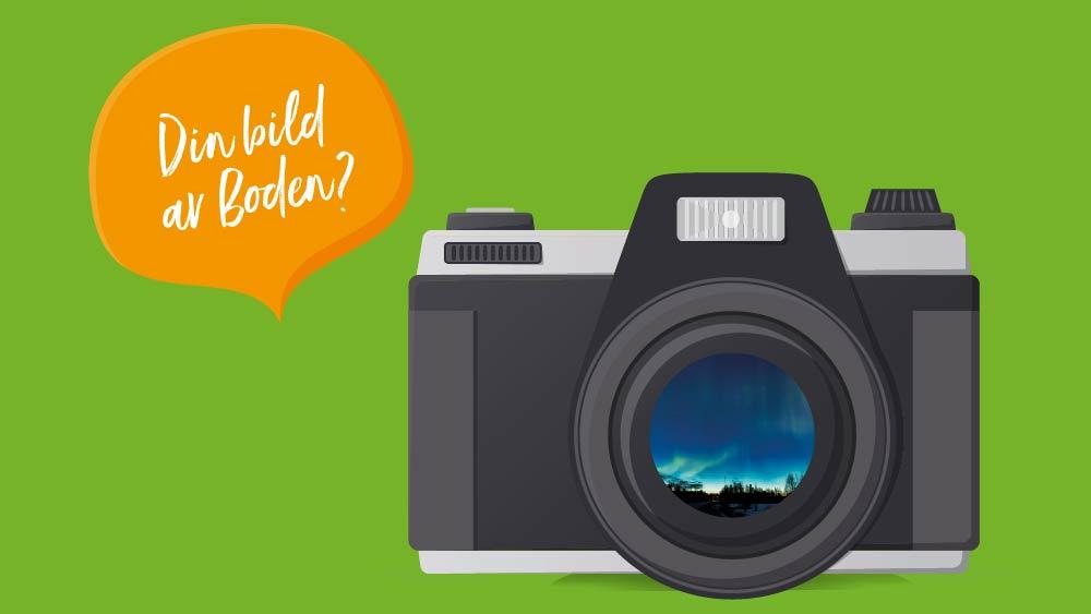"""Kamera med pratbubbla där det står """"Din bild av Boden?"""""""
