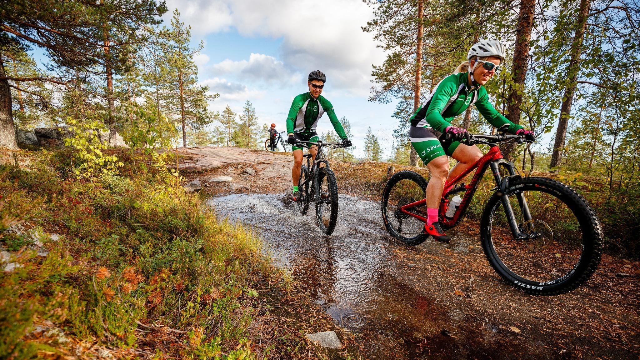 kvinna och man på mountainbikes i skogen