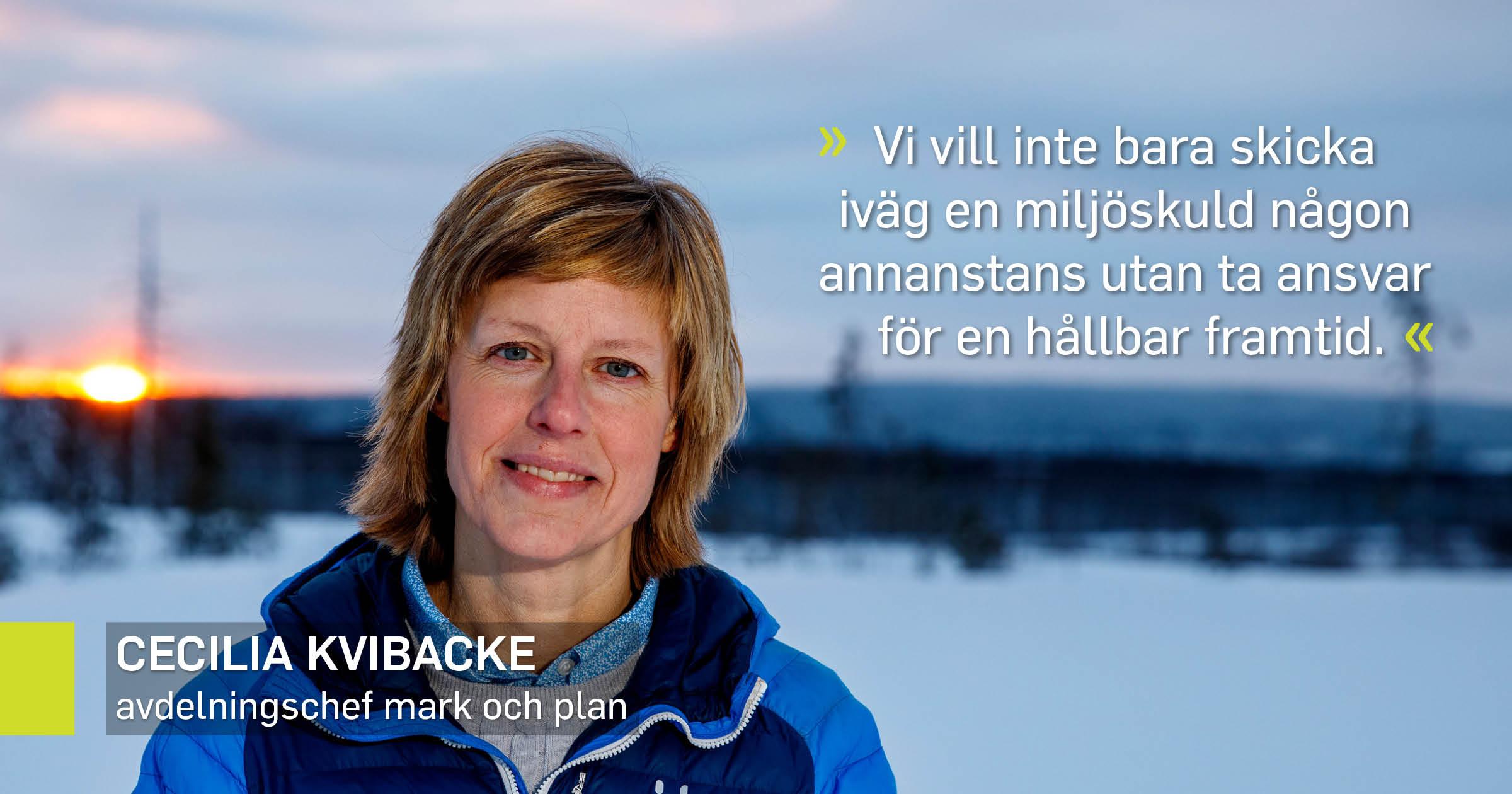Cecilia Kvibacke, avdelningschef mark och plan, utomhus i snön vid det nya industriområdet i Norra Svartbyn.